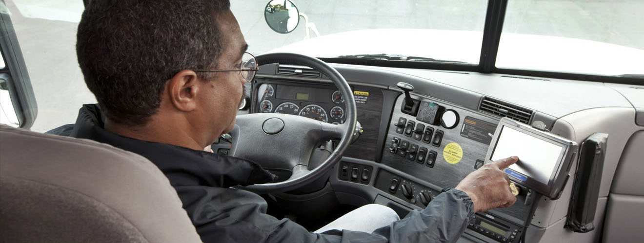 Truck driver using mobile computer